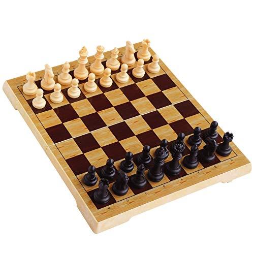 LINWEI Internationaler Schach-Set - Enthält Schachfiguren und Schachbrett, Zwei weitere Königinnen sind gegeben - der Boden der Schachfiguren enthält Magneten