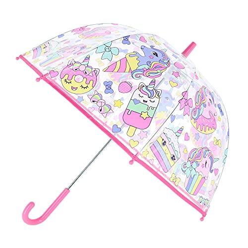 Desconocido Kids Paraguas Transparente Campana 48cm Manual de Colección Cupcake Acampada y Senderismo Infantil, Juventud Unisex, Multicolor (Multicolor), Talla Única