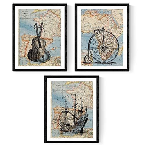 Nacnic Pack de 3 láminas para enmarcar MAPAS Vintage. Compuesto por Barco VELERO, Bicicleta Y VIOLINES
