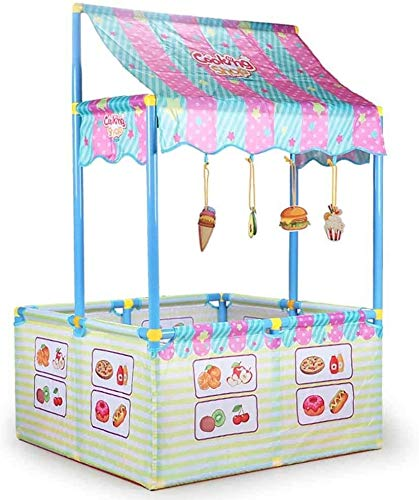 HIZLJJ Kinder Zelten Indoor-Kind-Zelt-Kinder-Spiel-Zelt Kinderspielzelt Kunststoff/Spiel-Haus-Baby Baby Spiel Sicherheit Zaun, Kantine Thema Design, geeignet for 0-6 Jahre Alten Kinder