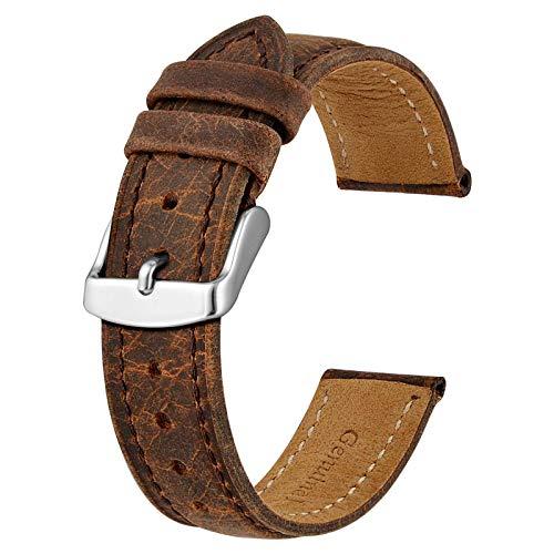 BISONSTRAP Uhrenarmband 22mm, Vintage Leder Ersatz Armband, Braun