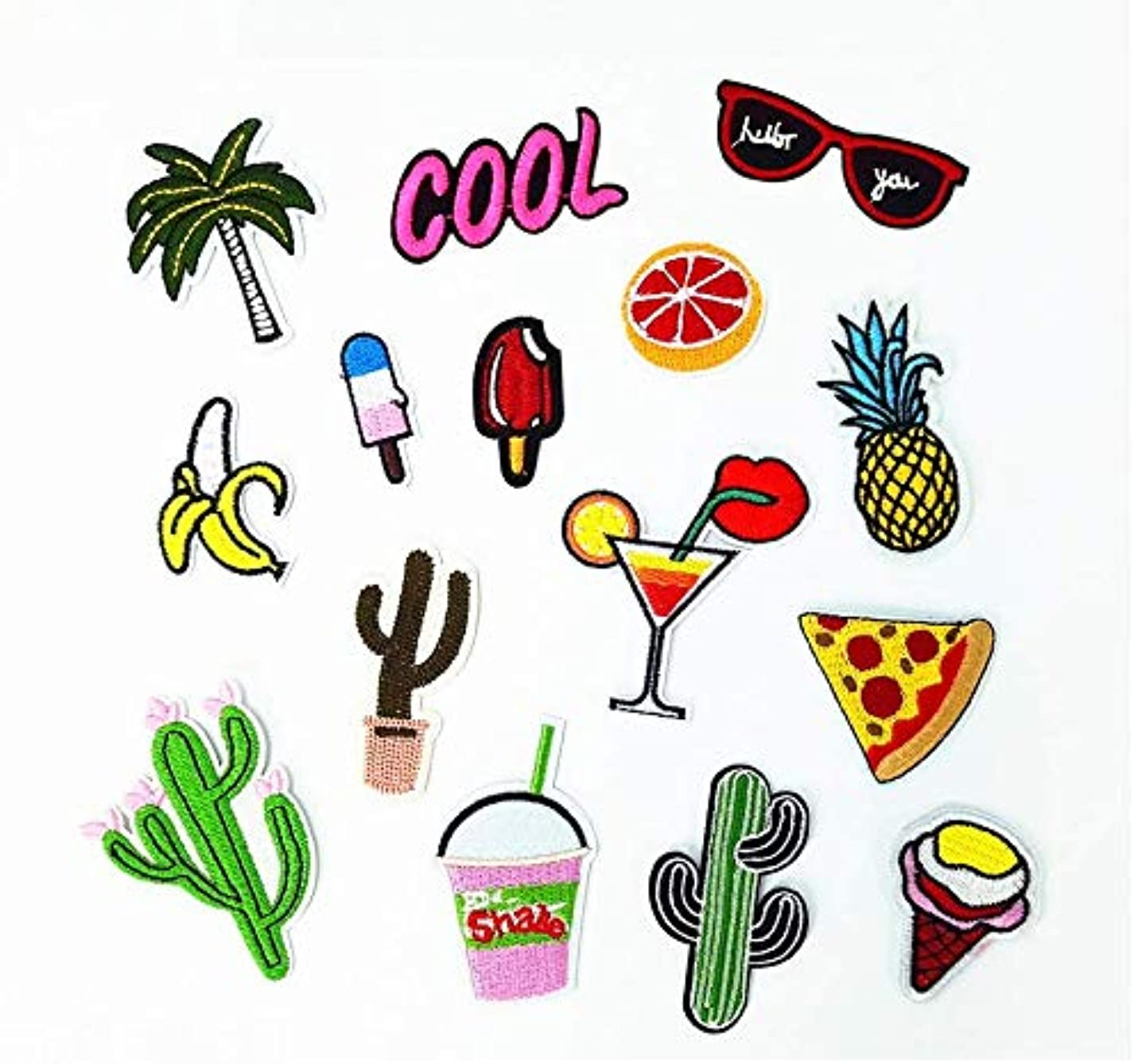 AG Goodies Iron On Patches - 15 Pcs Embroidered Patches Appliques Motif Applique Kit Assorted Size Decoration Sew On Patches for Jackets, Backpacks, Jeans, Clothes