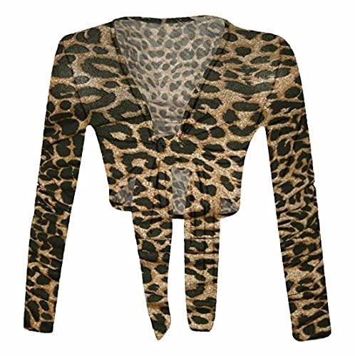 FASHION 7STAR Bolero para mujer, manga larga, cuello en V, estampado de verano, talla 38 – 26