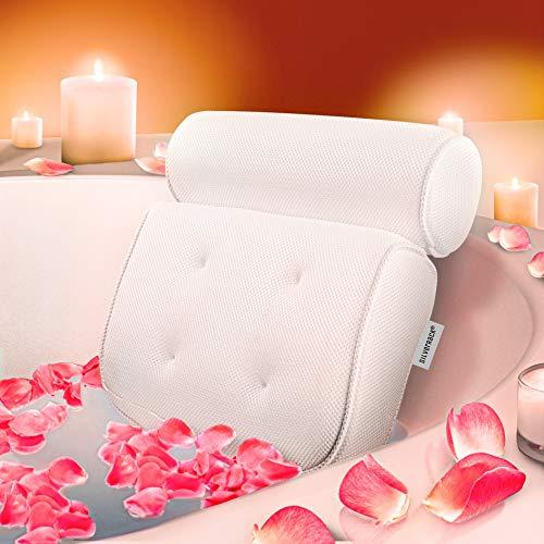 SilverRack Badewannenkissen [Weiß 3D] als Set inkl. Hornhautentferner u. Peelinghandschuh - Nackenkissen für Badewanne mit Saugnäpfen als Badewannen-Zubehör - Kissen für Badewanne - Badekissen