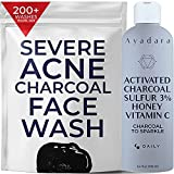 Ayadara Cystic, Hormonal, & Severe Acne Charcoal Face Wash | Prevents Future Breakouts, Inflamed Pores, & Dark Spots | Deep Cleansing Sulfur Acne Facial Cleanser for Oily & Sensitive Skin | 200+ Uses