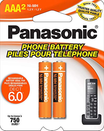 Panasonic HHR4DPA Genuine AAA NiMH Rechargeable Batteries for DECT Cordless Phones, 2 Pack,Orange
