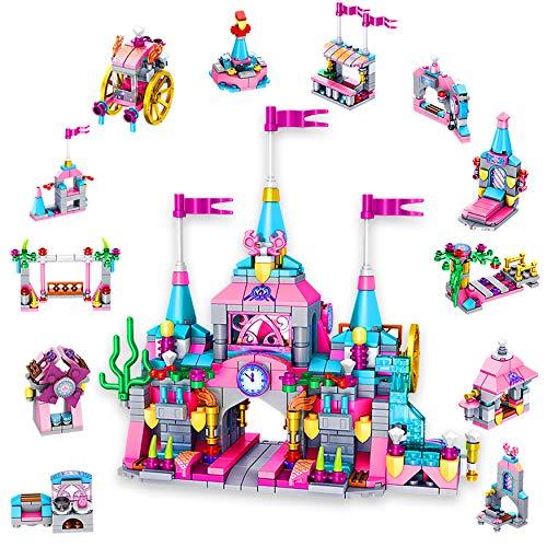 SilverBat Juego de Bloques de construcción para niñas, 25 en 1, Ladrillos de construcción de Castillo de Princesa Rosa, 566 Piezas Juego de construcción Stem para cumpleaños para niños de 5 a 12 años