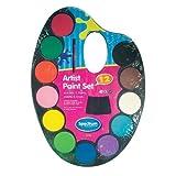 Para niños de acuarela de juego de pinturas paleta 12 colores con pincel con depósito de y manualidades