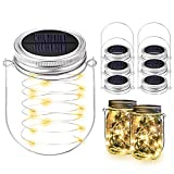 BizoeRade Solar Mason Jar Lights, Dual Row Solar Powered 20 LED Fairy Firefly String Lights(6 Lid Lights and 6 Hangers Included),Fit Regular Mouth Mason Jars for Outdoor Decoration -Warm White
