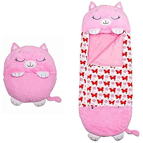 Soft Comfortable Kids Animal Sleeping Bag Play Blanket 2 in 1 Protable Nap Mat for Home Camping AlexHoumie Children Sleeping Bag Pillow