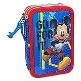 Astuccio Scuola 3D Mickey Mouse Disney Topolino MULTISCOMPARTO 3 Zip PORTACOLORI PENNARELLI Giotto - MIC0718
