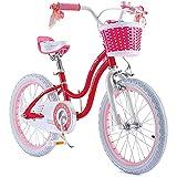 RoyalBaby Girls Bike Stargirl 18 Inch Girl's Bicycle With Kickstand Basket Child's Girl's Bike Pink