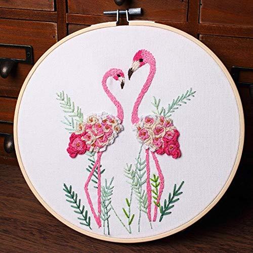 Thread DIY Stamped Embroidery Starter Kit met Bloemen Planten Pattern Borduren Doek Kleur Threads Gereedschap Set JFCUICAN (Color : Red, Size : 1)