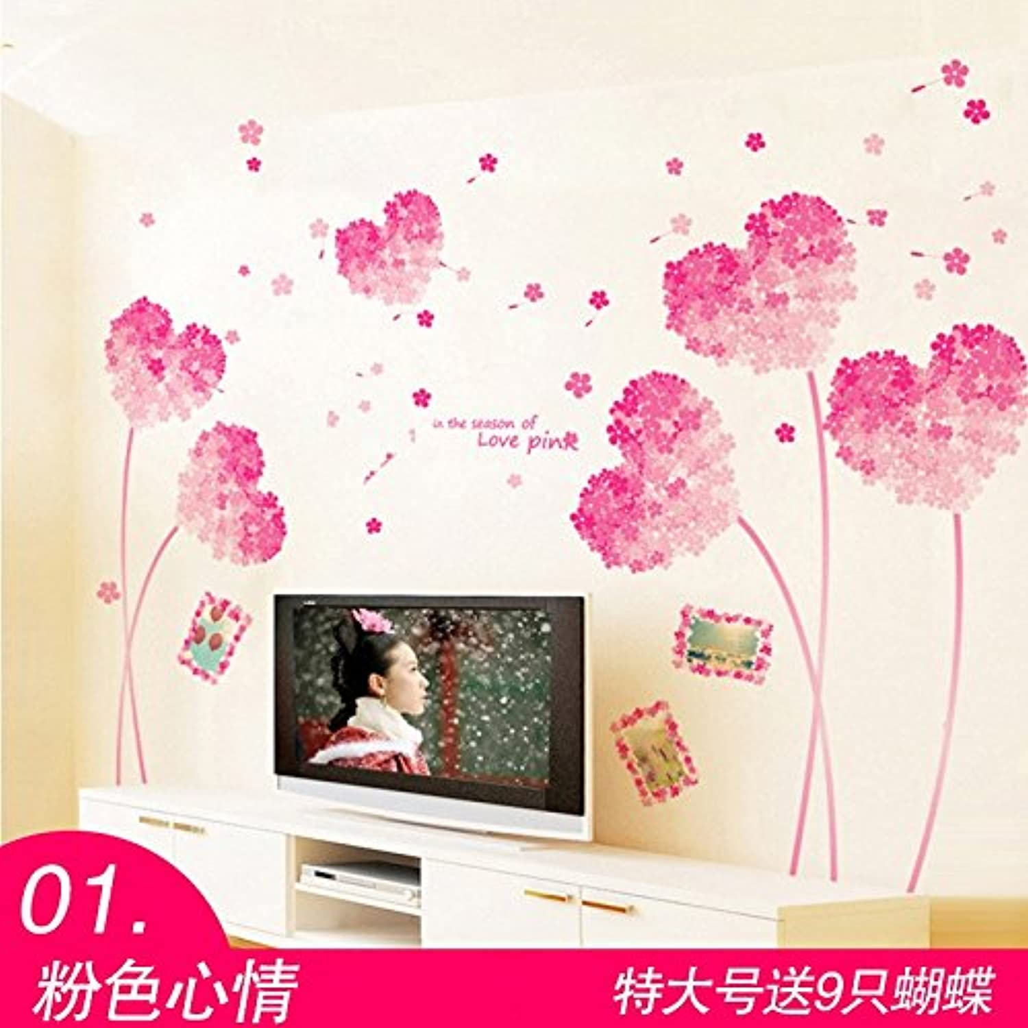 Znzbzt Wall Paper SelfAdhesive 3D Wall Decoration Sticker Wall Posters, Pink Heart.