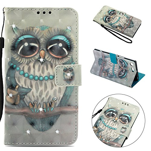 Tophung Sony Xperia XZ Premium Case, Shockproof 3D Handmade Bling Sparkly Diamonds PU Leather Flip Wallet Phone Case with Magnetic Card Holder Slot Silicon Back Cover for Sony Xperia XZ Premium Owl