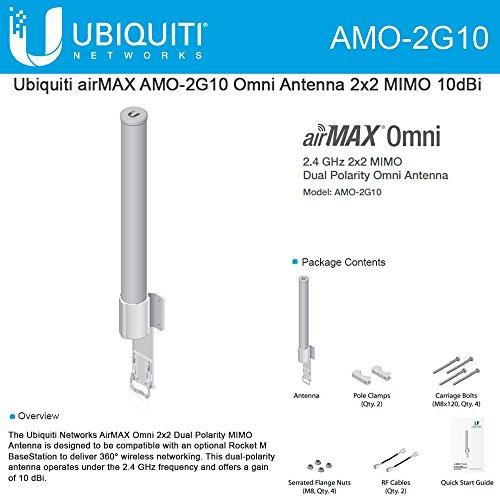 Ubiquiti AMO-2G10 2.4GHz Omni-Directional Antenna Dual-Polarizarion 10DBI