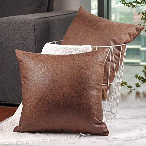 Pack of 2, Soft Decorative Faux Leather Pillow Covers, Square Modern Outdoor Cushion Case, Durable Rustic Throw Pillow Cover Shell for Couch Sofa Bed 18x18 Inch (Brown)