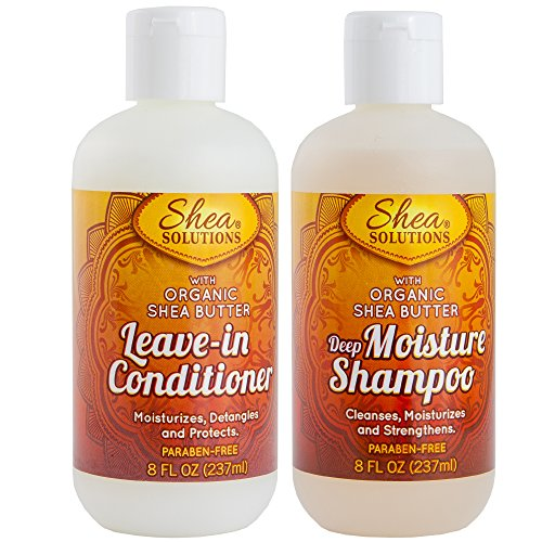 Organic Shea Butter Shampoo & Conditioner | Everyday Deep Cleanses, Repairs, Moisturizes, Strengthens, Detangles & Protects | Paraben-free | 8 Oz Travel Pack (Shampoo & Conditioner) 8 Oz Shea Butter Shampoo