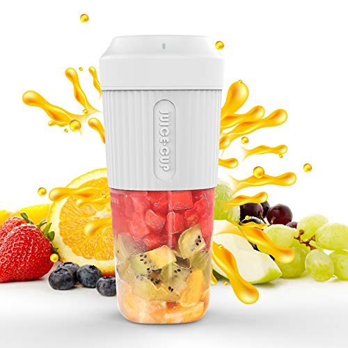 Portable Blender, Smoothie Juicer Cup - 4 Blades in 3D, Fruit Mixing Machine with 2000mAh USB Rechargeable Batteries, Ice Tray, Detachable Cup (White)