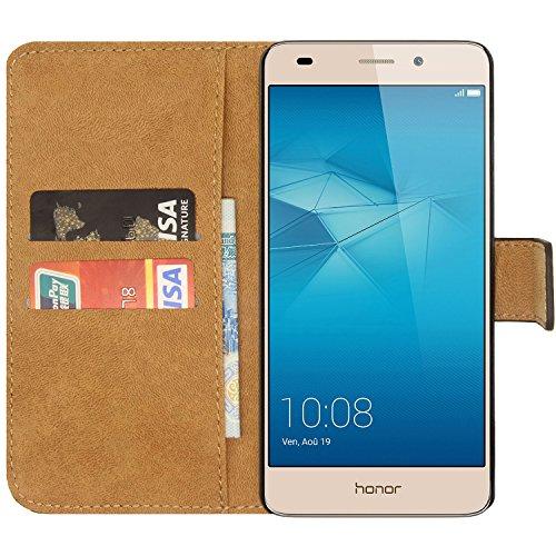 Ambaiyi Flip Echt Ledertasche Handyhülle Brieftasche Hülle Schutzhülle für Huawei Honor 5C Hülle , schwarz