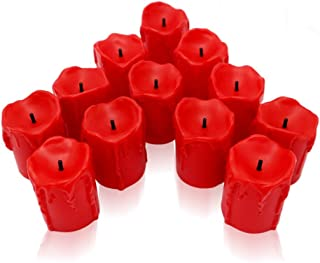 Flameless Candles Pack of 12 LED Candles Waterproof Wave Shape POLIYU Flameless Tea Lights Wax Dripped and Black Wick Battery Operated Candles Seasonal Candles Flameless Votive Lights