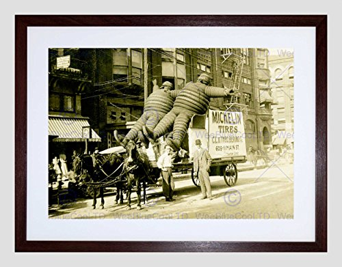 Wee Blue Coo Vintage B&W Vervoer Banden Houston Texas Omlijst Muur Art Print