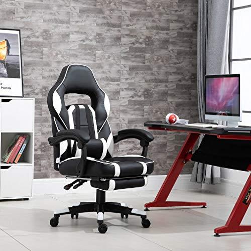 creatspaceDE Gaming Stuhl Bürostuhl Schreibtischstuhl Kunstleder Gamer Stuhl Drehstuhl höhenverstellbarer PC Stuhl Ergonomisches Design mit Fußstütze und Wippfunktion (White 2)