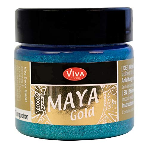 Viva Decor®️ Maya Gold (Türkis, 45 ml) Acrylfarbe mit Metallic Effekt - Malfarbe - Acryl Farben für Holz, Pappe, Beton, Papier, Leinwand UVM.