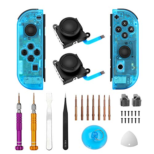 Vivefox Joycon Joystick Replacement DIY Shell Set, 3D Analog Thumb Sticks with Clear Atomic Blue DIY Replacement Shell Case for Right Left Switch Joy-con Controller Full DIY Repair Tool Kit
