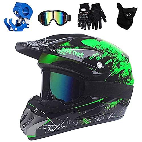 VOMI Enduro Crosshelm Grün, All Terrain Motocross Downhill Helm Zubehör mit Brille Maske Handschuhe Helmhaken Full Face MTB Herren Helm für Mountainbike Moped Bergbuggy Sport Sicherheit,S(52~53CM)