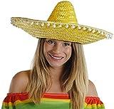 I LOVE FANCY DRESS LTD 1 X GROSSER GELBER Sombrero MIT WEISSEN KLEINEN Pompoms AM Rand -