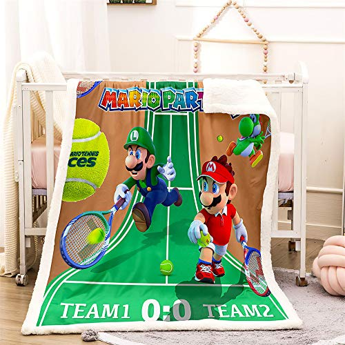 Amacigana Super Mario Flanelldecke, super weich, Sofadecke, 3D-Druck, Fleecedecke mit Super Mario Partydecke (150cmX220cm,Super Mario 09)