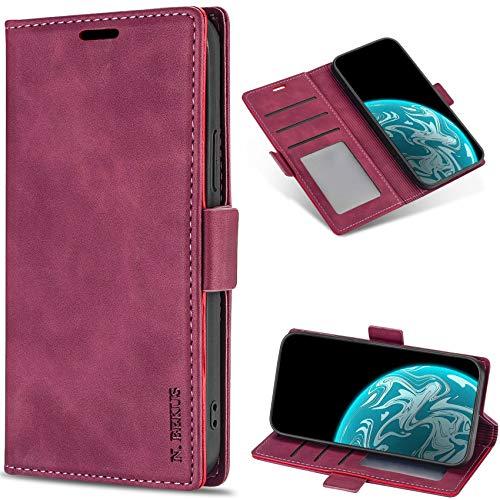 Dclbo Cover per Samsung Galaxy S6 Edge, Custodia Flip Case Portafoglio Pelle Libro Cover con Porta Carte Magnetica Supporto Cuoio Elegante Custodia Wallet Case Antiurto per Galaxy S6 Edge-Vino Rosso
