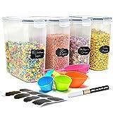 Almacenamiento de cocina y despensa tapers para comida hermetico| Dispensador cereales con etiquetas de tiza| botes cocina almacenaje| Bote Cereales herméticos fáciles de apilar, para almacenar todos
