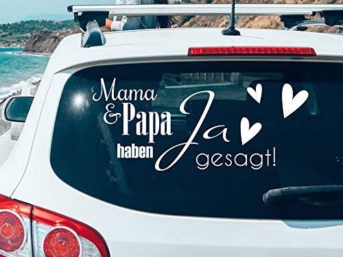 GRAZDesign Autoaufkleber Mama & Papa haben JA gesagt, Hochzeitsauto Deko Spruch von Kindern, Autoschmuck Hochzeit mit Herzen / 70x30cm / 010 weiß