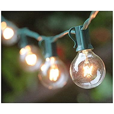 50Ft G40 Globe String Lights with Bulbs Outdoor Market Lights for Indoor/Outdoor Commercial Decor Green Wire