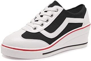 OCHENTA Women's Canvas Wedge Heeled Platform Fashion Sneaker Black Size: 6.5