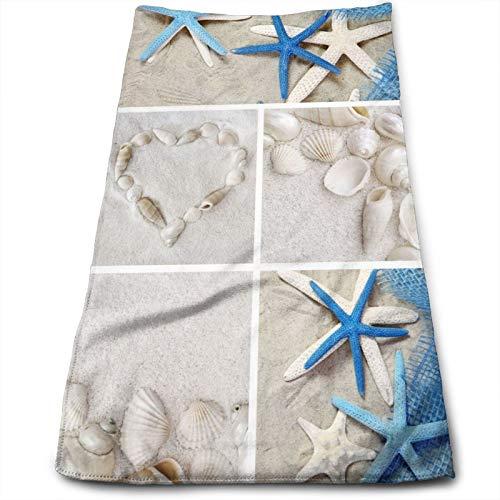 N/W Summer Sea Seashell Blue Starfish Hand Towels for Bathroom 27.5'' X 12'' Soft Microfiber Towel White Beach Sand Small Bath Towels Kitchen Dish Towel