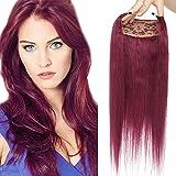 18'/45CM Élastique Cheveux [Doubles Fils & Max Epaisseur] Fil Pour Extension de Cheveux Extension a Froid 99J#Vin rouge