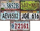 - Lote de 5 Placas de matrícula de automóviles de EE. UU. En Metal, con Efecto Envejecido - réplicas de Placas Americanas Reales (Old2)