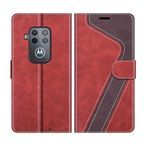 MOBESV Handyhülle für Motorola One Zoom Hülle Leder, Motorola One Zoom Klapphülle Handytasche Case für Motorola One Zoom Handy Hüllen, Modisch Rot