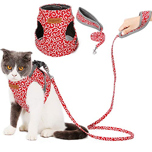 "Adnikia Floral Dog Cat Harness and Leash Set Escape Proof Pet Harness Vest with Padded Handle Leash(120m/47.2"" Long) for Kittens Kitties Puppies, No-Pull Cats Jackets Apparels Adjustable Cat Vest"