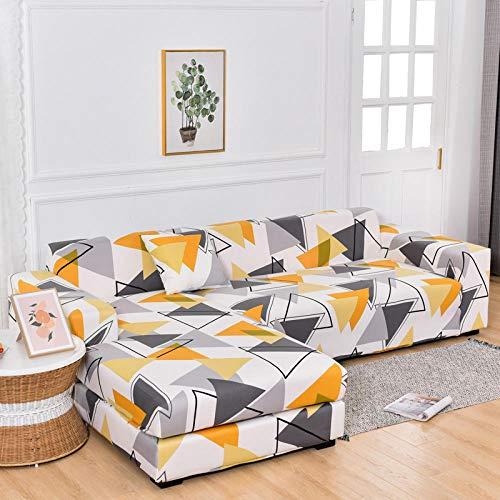 SDFWEWQ Elástica Funda para Sofá 1/2/3/4 Plazas Ajustables Simplicidad Moderna Elástico Impreso Antideslizante Lavable Decorativa Cubre Sofá Protector de Muebles (Blanco,2 Plazas 145-185 cm)