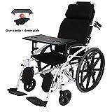 Wheelchair Silla de Ruedas Plegable Ligera con Frenos de Mano Reposacabezas en Forma de U Respaldo Ajustable Full Half Lay