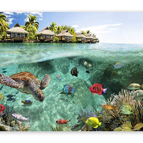 murando Papier peint intissé 350x256 cm Décoration Murale XXL Poster Tableaux Muraux Tapisserie Photo Trompe l'oeil nature paysage mer poisson île tropicale été c-A-0027-a-a