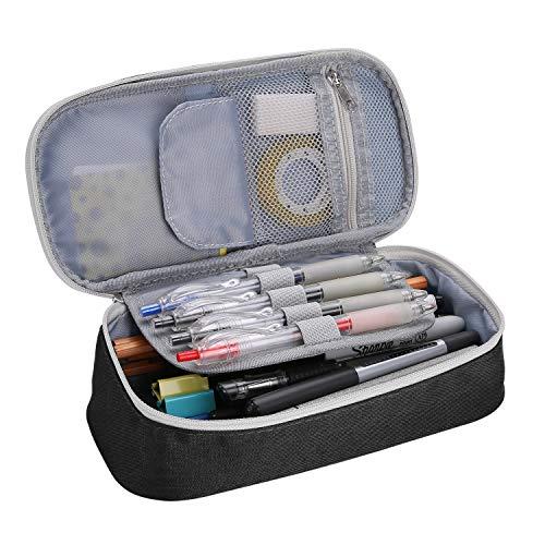 ProCase Estuche Escolar Gran Capacidad, Bolsa de Lápiz Portable Lapicero para Material de Papelería Maquillaje con Cremallera Doble para Estudiantes en Escuela y Empleados en Oficina -Negro