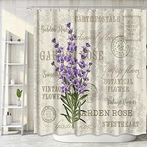 Riyidecor Fabric Flowers Shower Curtain Set for Bathroom 72Wx72H Inch Vintage Lavender Bath Curtain for Women Girls Purple Floral Bathtub Accessories Plant Waterproof 12 Pack Plastic Hooks WW-VCEH
