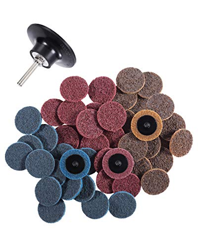 S SATC 46PCS Roloc Discs 2 Inch Roloc Quick Change Discs 1pcs 1/4'' Holder Surface Conditioning Discs Fine Medium Coarse for Die Grinder Surface Strip Grind Polish Burr Finish Rust Paint Removal