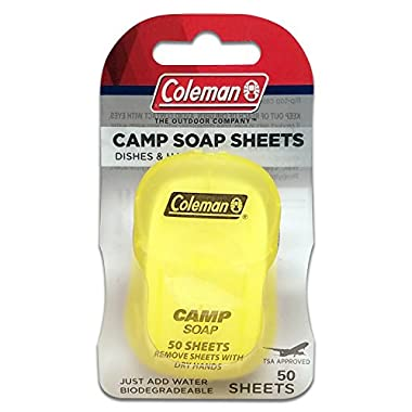 Coleman Dish and Hands Camp Soap Sheets, 50 sheets
