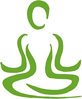 hBARSCI Meditation Pose Vinyl Decal - 11 Inches - for Walls, Windows, Doors, Vehicles, Outdoor-Grade 2.5mil Thick Vinyl - Lime